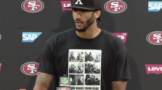Colin Kaepernick wearing his Fidel Castro shirt.