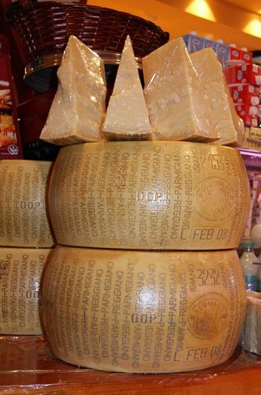 Parmesan has a nutty and fruity flavor. It is from Italy and is made from cow's milk.