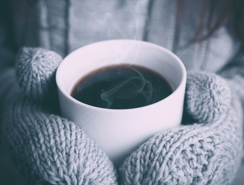 Hot coffee on a cold day warms you up.