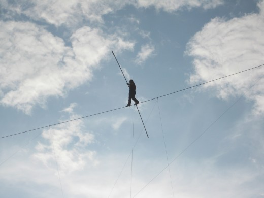 Nik Wallenda walks the tightrope at Canada's Wonderland
