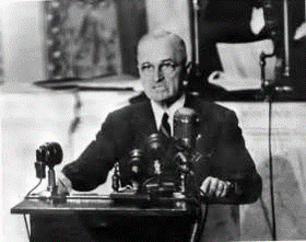 President Harry Truman delivering his proposal to contain communism in front of the congress on 12th March 1947, which later was known as the Truman Doctrine