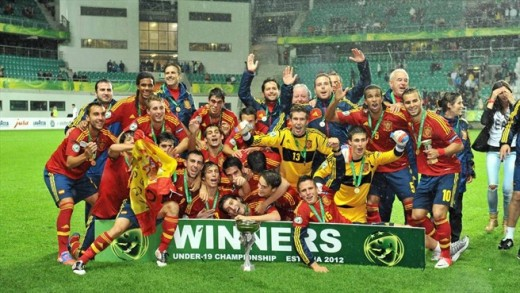 A Le Coq Arena hosted the final of the UEFA Under-19 Championships in 2012. Spanish players celebrated after defeating Greece to win the title.