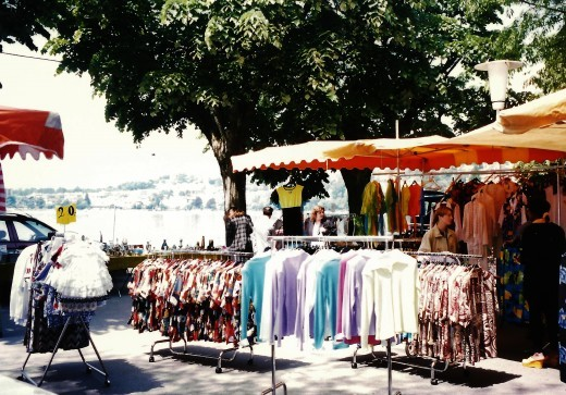 Clothing and other sundries for sale along Montreux's promenade lake area on the day of our visit.