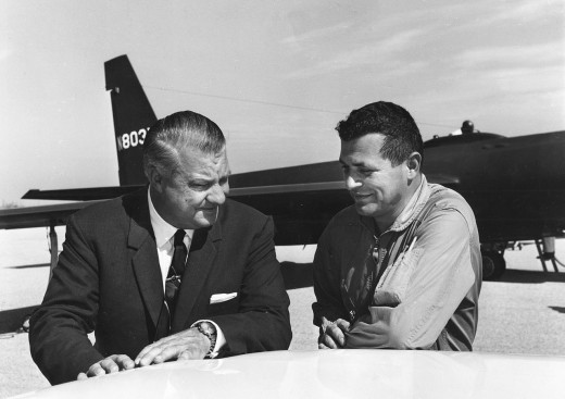 Kelly Johnson and Francis Gary Powers with a U-2 in the background.