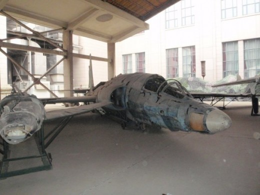 The wreckage of a Nationalist Chinese U-2 shot down by the People's Republic of China at the Military Museum of the Chinese People's Revolution, Beijing.