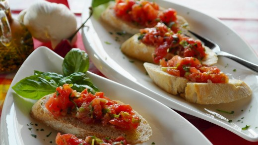 Hot and tasty Cherry Bruschetta with Mozzarella Cheese is ready to serve.