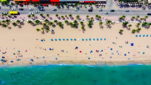 Fort Lauderdale beach seen from the sir.