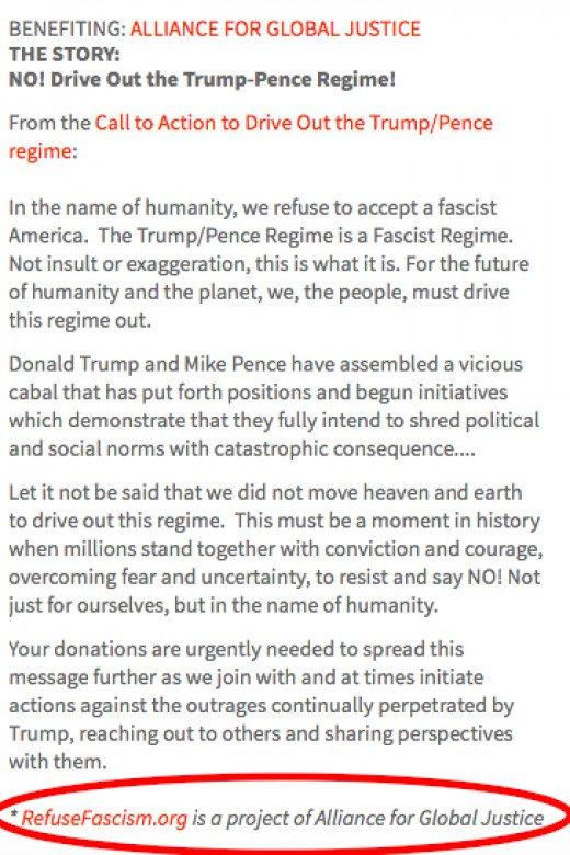 Refuse Fascism Crowdrise fundraising page