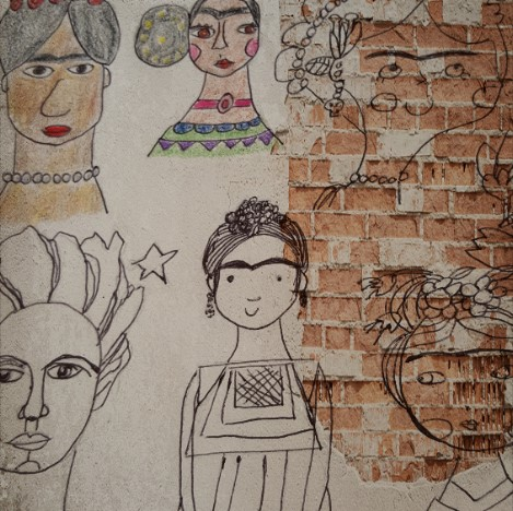 Frida Kahlo drawings by Victoria Moore