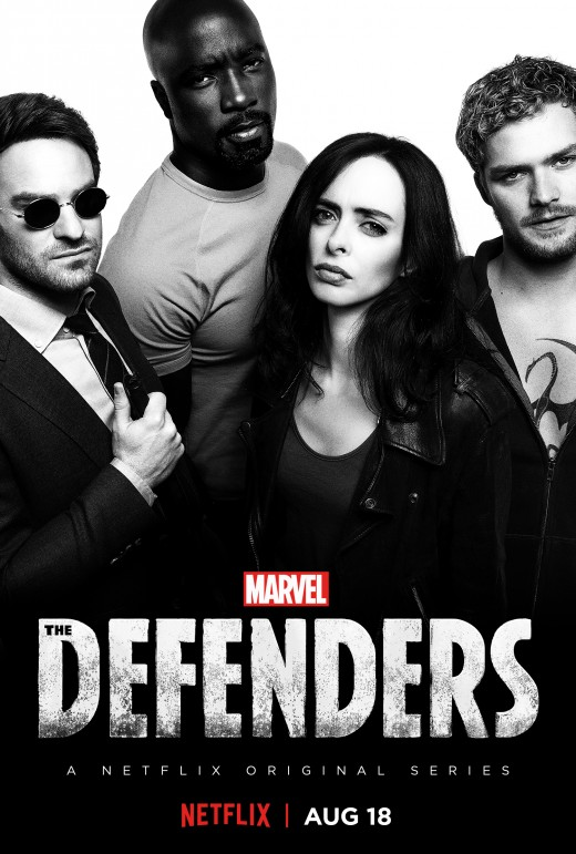 The Defenders' Netflix poster. From left to right (characters and their respective Netflix shows): Matthew Murdock (Daredevil), Luke Cake (Luke Cage), Jessica Jones (Jessica Jones), Danny Rand (Iron Fist).