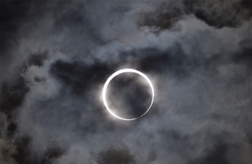 Eclipse in a cloudy sky