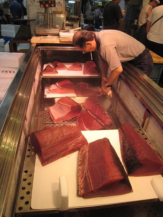 Tuna is kept frozen in large portions at Tokyo fish market.