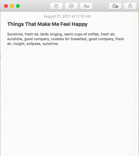 Example of how to write about your happinesses.