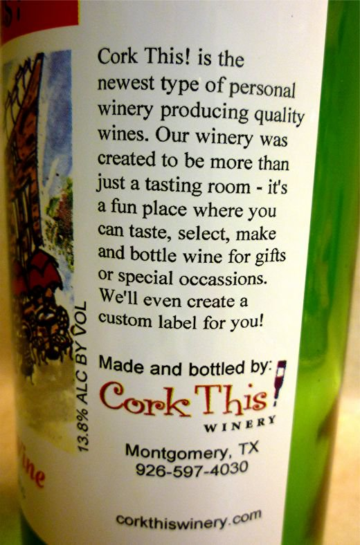 Back of Cork This! Wine Label