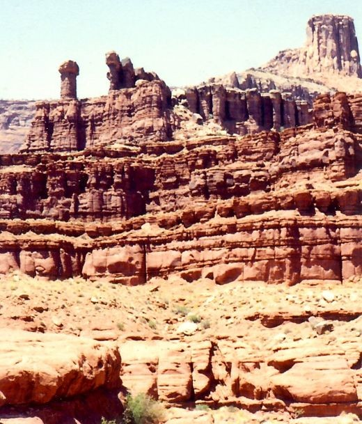 Evidence of erosion over eons of time and resulting beauty in Canyonlands National Park.
