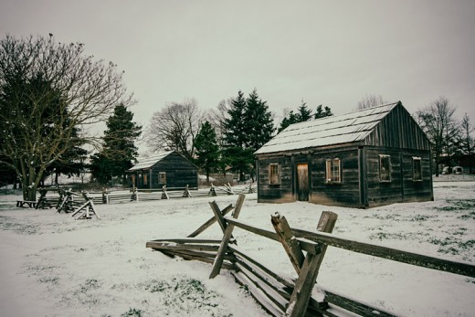 The cabins at Fort Vancouver in the wintertime.