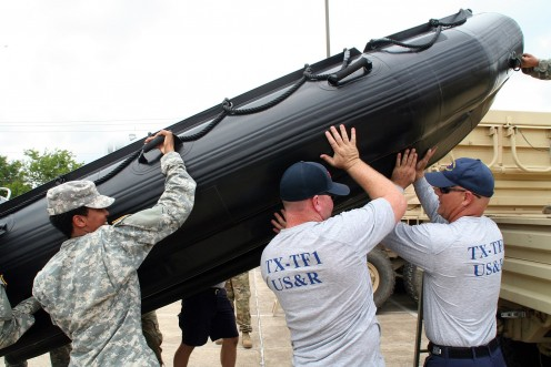 Texas National Guard members prepare for Hurricane Harvey.