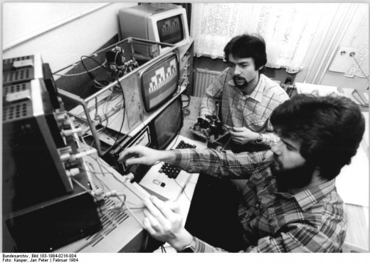East German engineers rate the image quality of a micro-computer's monitor (1984). Technology has made huge advances over the last 30 years.