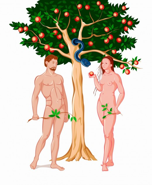 Adam and Eve being deceived by Satan, the serpent.