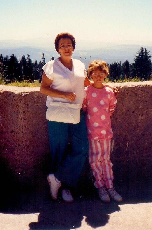 My mother and niece + scenery at Timberline Lodge