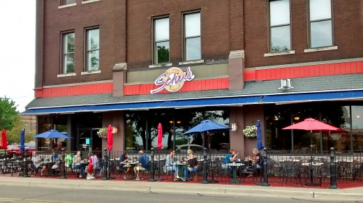 Outdoor dining is common along the streets of St. Joseph during the summer.