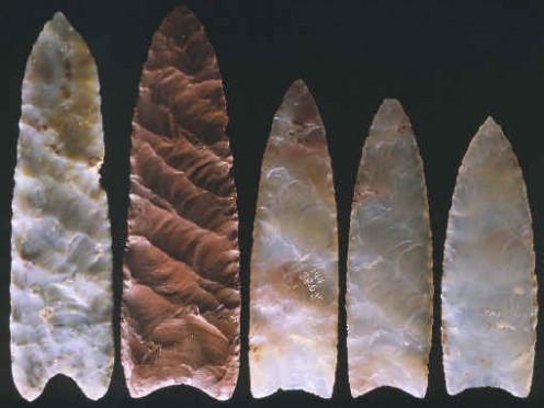 Clovis spear points and arrow heads