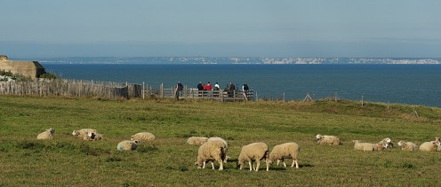 View from Cap Gris-Nez (France) over the English Channel to the cliffs of Dover.