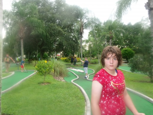 We played Mini Golf at the resort, Rose won