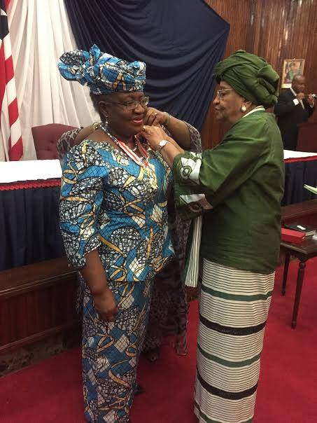 Dr Ngozi Okonjo-Iweala, former World Bank Managing Director and the former Minister of Finance. Decorated during the award ceremony by the Liberian President Ellen Johnson Sir Leaf.