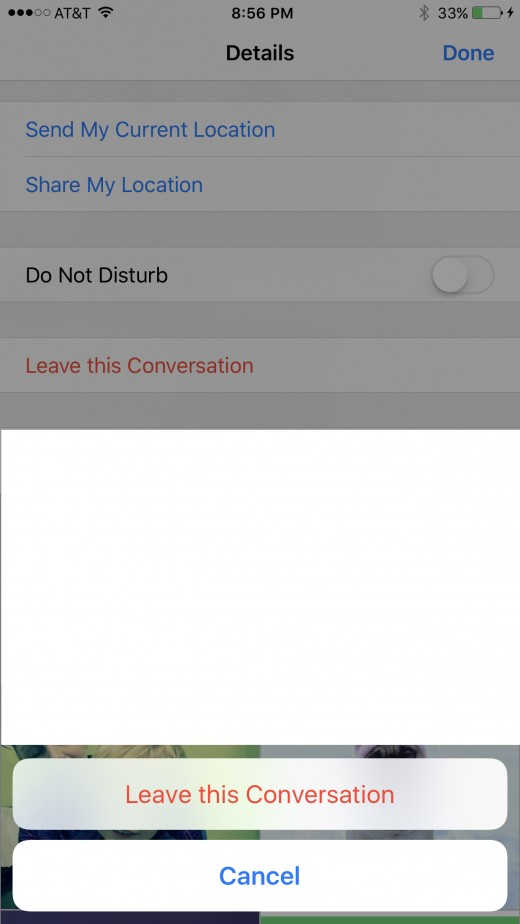 "Tap ""Leave this Conversation."" Two buttons fly up from the bottom of the screen. A Cancel button and a Leave this Conversation button."
