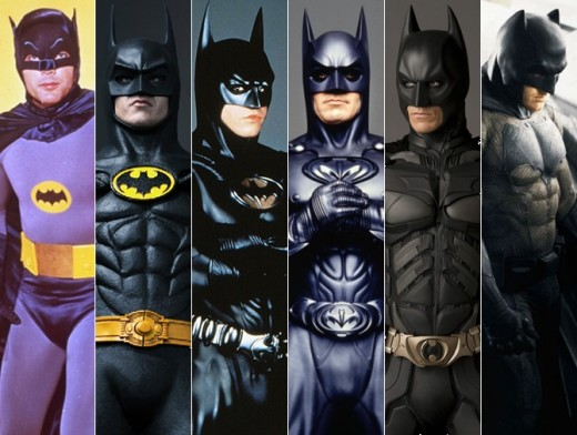 (l-r) Adam West, Michael Keaton, Val Kilmer, George Clooney, Christian Bale and Ben Affleck have all donned the costume to play Batman on the big screen.