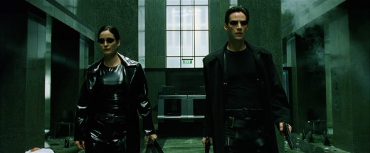 "Trinity & Neo are about to blow some stuff up in ""The Matrix"""
