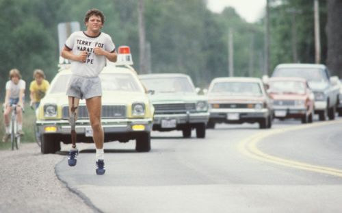 Terry Fox running across Canada