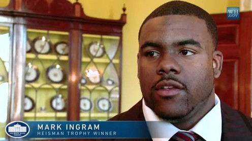 Alabama running back and Heisman Trophy winner Mark Ingram, Jr. at the White House during the BCS national champion Crimson Tide's visit.