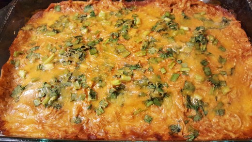 Bake a shredded chicken enchilada casserole in 3 easy steps delishably baked enchilada casserole forumfinder Choice Image