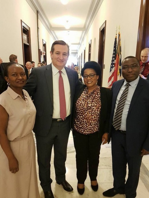 US Senator Ted Cruz with Nahimana and his team.
