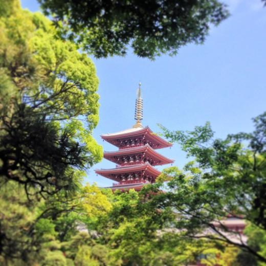Pagoda Tower at Senso-ji Temple in Asakusa, Tokyo.