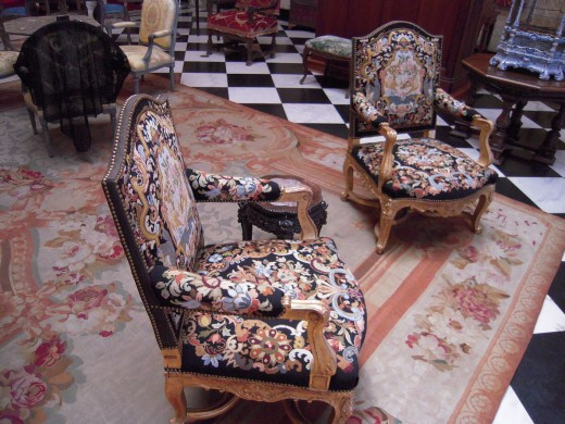 Wooden armchairs, carved and gilt, in The Cà d'Zan, Sarasota, Florida, United States