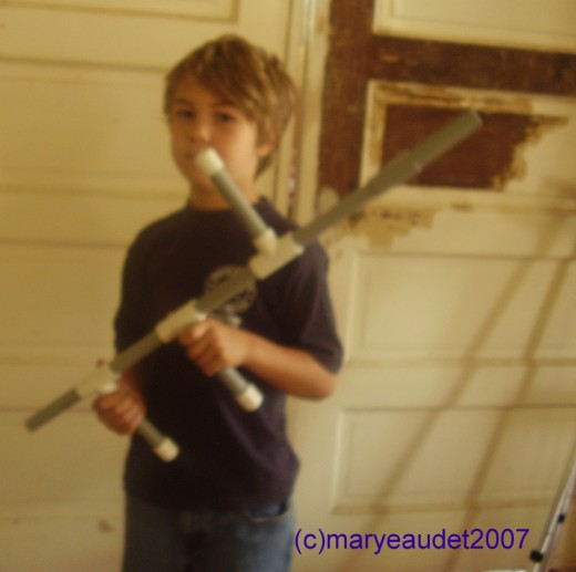 My son and his marshmallow gun
