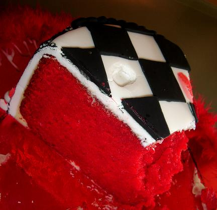 Vanilla mud cake colored red with Wilton coloring paste