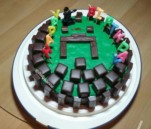 The Minecraft birthday cake I made.
