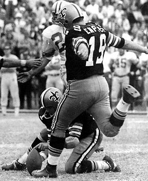 Tom Dempsey makes world-record field goal of 63 yards giving the New Orleans Saints a 20-19 win over the Detroit Lions.
