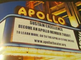 The sign outside of Apollo Theater in Harlem, where thousands of artists have had their names in lights before their appearance.