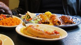 """A delectable dish we had at """"Chevys"""" that included tacos and burritos."""