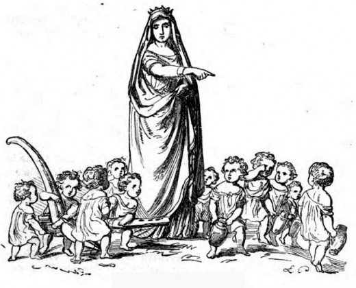 Frau Holle with children all around.