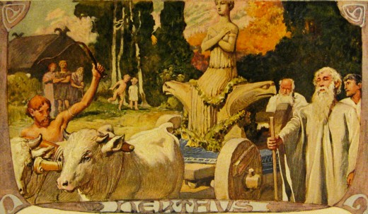 Emil Doepler depicted Nerthus in her wagon, drawn by the two heifers.
