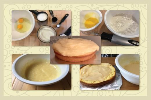 Making Custard Cake Filling