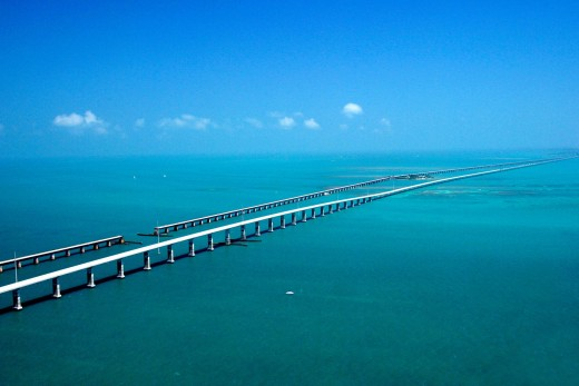 Long shot of Seven Mile Bridge. Notice the broken section.