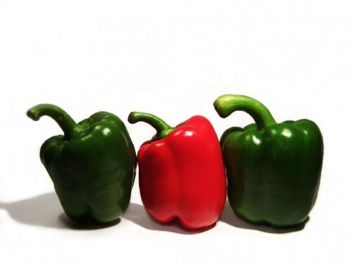 I use green peppers, but you can use other colors if you prefer.