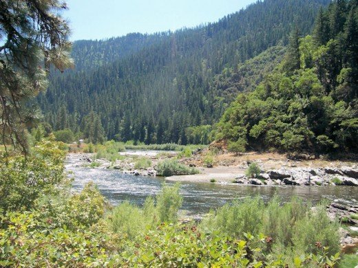 My photo of the Klamath River at Ferry Point. I was standing downhill from the Dear Mad'm cabin site, on the southern end of the Ferry Point River Access.